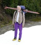 Roland's alternative way of carrying his skis - much faster to set up