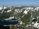 On the summit of Mt. Burman: Schjelderup Lake (L) and Carter Lake (R). We decided to climb Burman to avoid a long snowy traverse