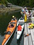 The beginning of the 4 day Broken Group Islands Kayaking trip - Klara and Stan organizing their kayak