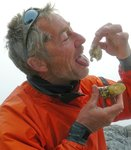 Hans trying an Oyster