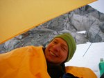 Nick, stoked up about the tarp.  We lost some of our stoke after it started snowing and the spindrift came in.