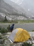 Snow storm in August - just after we put up our tents
