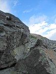 An easy rope hang (against bears) on a huge boulder