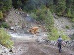 Bulldozer working on the creek crossing