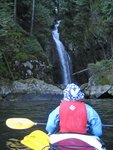 Viewing a waterfall from the kayak