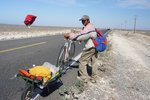 The first (and almost only) cyclist we met. A Mexican going North
