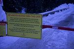 No trespassing sign on Callaghan FSR