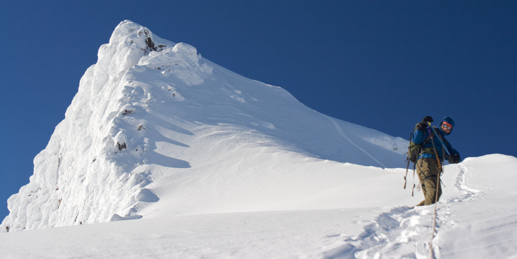 Mike Duncan bootpacks the last section of ascent toward the summit. Photo: Charlie Beard