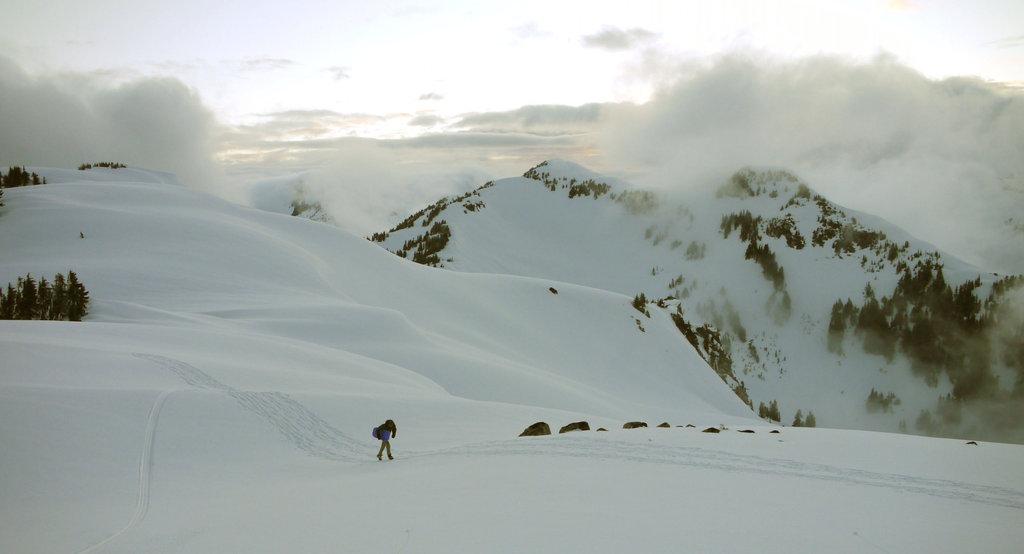 Geoff climbing back to Brew following another successful toboggan run. Photo: Ron Maharik