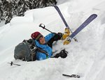 Maya Goldstein after a spectacular fall, on the descent from the Brian Waddington Hut. Photo: Gili Rosenberg