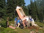 Moving Phelix Outhouse August 2009. Photo: Roland Burton