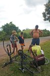 Fixing a flat tire always get the attention of the locals