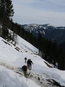 Crossing avalanche debree on the logging road