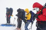 Blowing snow, not ideal conditions for a spring traverse