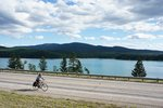 Cycling along Dickey Lake, back on Highway #93