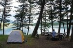 Our first rate camping spot on the shore of Dickey Lake, for free