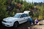 Having breakfast after parking at the first creek, which we decided not to drive through