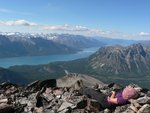 Resting with Chilko Lake in background