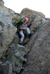 Downclimbing the south ridge.  This is just above the 25m rappel