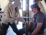 Piotr and Julien working on the door at Sphinx Hut