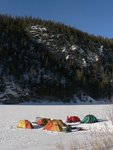 Camping on the frozen Crowe Lake