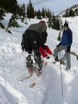 Richard makes the slope slide (Rutschblock Test)