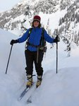 On the way down, with fresh powder