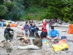 First dinner, near the fire, Gilbert Island. The first day we paddled too fast and went straight to the last island
