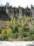 View of basalt columns on the other side of the river