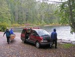 Getting the canoes ready at Schoen Lake