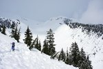 Some avalanche debris on the descent to Ring Creek. The snow was terrible death crust