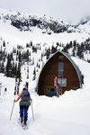 Maya arriving at the hut
