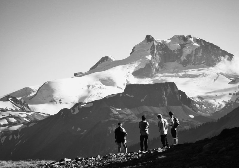 From Panorama Ridge, admiring the features of Table Mountain and Mt. Garibaldi. Photo: George Berking