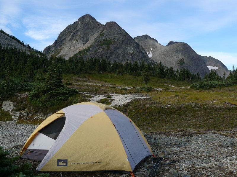 Our tent below Coquihalla Mountain on a scrambling trip to Jim Kelly Peak and Coquihalla Mtn. Photo: Maya Goldstein