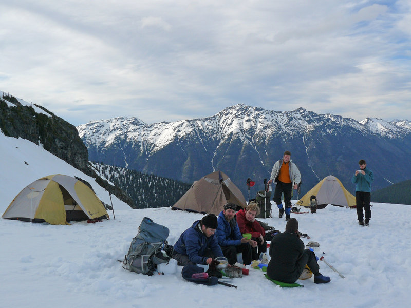Early dinner at Motel 66 before an attempt on Mt. Matier which involved an alpine start at 2am. Photo: Maya Goldstein