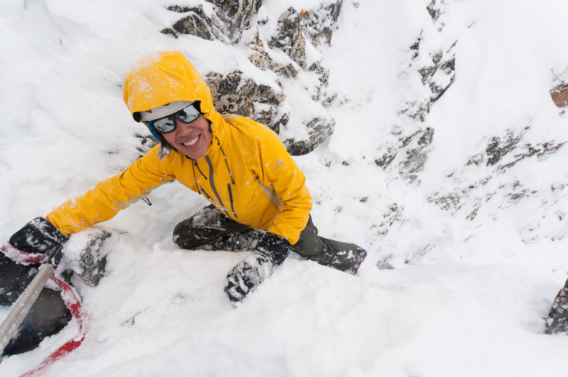 Vicky, scrambling up the Pterodactyl in the Asulkan Valley. Photo: Phil Tomlinson
