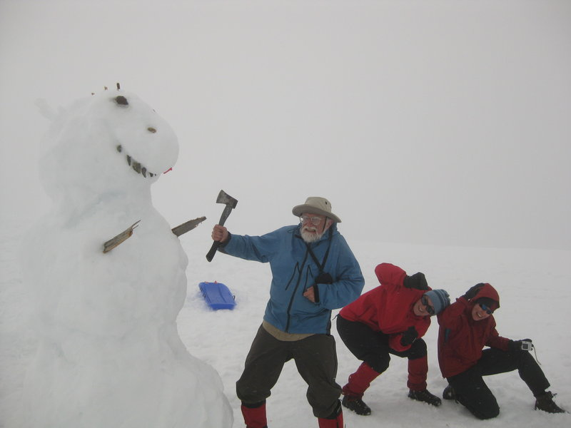 During a trip to Brew Hut we built a dangerously large snow dinosaur.  Fortunately Roland was there to save us! Photo: Cecile R
