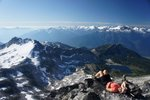 Enjoying a rest at the summit of Saxifrage Mtn.