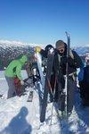 Jumble of skis on the small summit