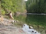 Glory dip in Frances Lake