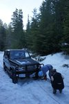 When we got closer to the car we found a jeep that got stuck in the deep snow