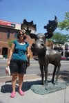 Exploring downtown Coeur d'Alene, this is Mudgy the Moose. There are five sculptures like this, inviting one on a walking tour o