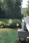 Jumping off the bridge for another refreshing swim