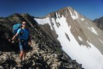 Gili descending off the shoulder of Frosty Mountain