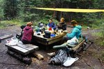 Dinner under our tarp at Ball Pass Junction Campground