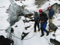 Jumping into crevasse