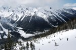 """This is the """"obvious basin which leads to the S of the summit,"""" from Baldwin"""