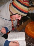 Matt, Piotr and Stu went for a run, so Line and I took advantage of the empty hut, to do some crosswords - Bible Crosswords!