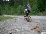 Me, biking up the logging road.  Biking down was way easier.