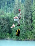 Matt tightrope-walking the cables